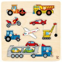 Vehicles 10 pc Wooden Knob Puzzle
