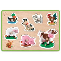Farm Animals Fleurus Sound Wooden Peg Puzzle