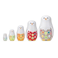 Owl Family Nesting Dolls Wooden Set