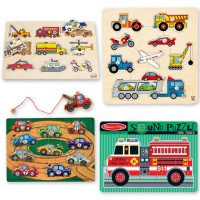 Vehicle Puzzles 4 Wooden Puzzles Kit for 2-3 years