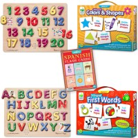 Spanish Letters, Numbers, Colors, Shapes, First Words Learning Toys Kit for 3-5 Years