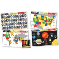 Advanced Subject Skills Learning Mats Set: World Map, Planets, US Map, Presidents, & Wipe-off Crayons