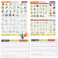 Reading & Writing Skills 3 Learning Mats & Wipe-off Crayons Kit - Alphabet, Phonics & Handwriting