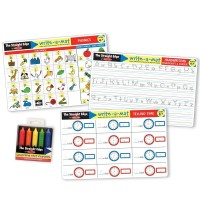 Basic Skills 3 Learning Mats & Wipe-off Crayons Kit - Phonics, Telling Time & Handwriting