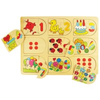 Picture and Number Matching 18 pc Wooden Puzzle