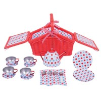 Polka Dot Basket 18 pc Tea Set