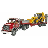 Bruder MACK Granite Low loader Truck and JCB Backhoe Loader 2 Vehicles Set