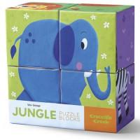 Jungle Animals Mini Puzzle Blocks 4 pc Set