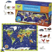 Discover World Animals 100 World Map Puzzle & Play Set