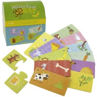 What Animals Eat 12 Puzzles Set in a Gift Trunk