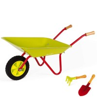 Janod Metal Wheelbarrow 3 pc Garden Tools Set