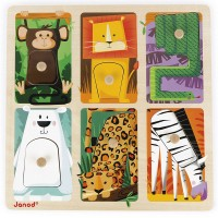 Zoo Animals 6 pc Touch & Feel Peg Puzzle