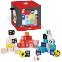 Letters Numbers Wooden Building Blocks 40 pcs Set - Kubix - Janod