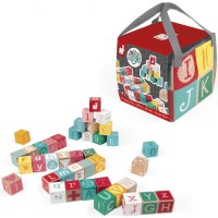 Kubix 40 Letter + Number Wooden Blocks & Play Mat Set