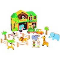 Story Box Safari Pretend Play 19 pcs Wooden Set