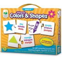 Colors & Shapes Match It! Trilingual English Spanish French Teaching Puzzle
