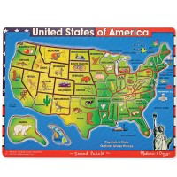 USA Map Wooden Sound Puzzle