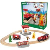 Brio Rescue Firefighter Set 18 pc Wooden Train Set