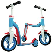 2-in-1 Highway Baby Scooter & Push Bike - Blue & Red