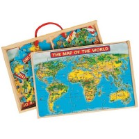 US Map & World Map - 2 Puzzles Set in a Box