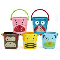 Zoo Stack & Pour Buckets 5 pc Bath Toy