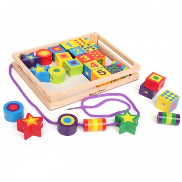 Lacing Beads in a Box Wooden Toy