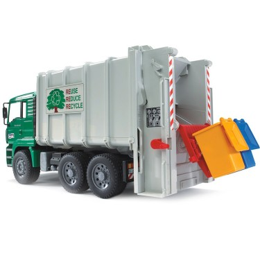 Bruder Toy Garbage Truck - Rear Loading Green