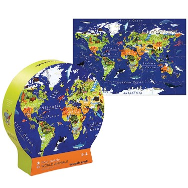 World of Animals 60 pc Map Puzzle in Gift Box