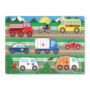 Vehicles Peg 8 pc Wooden Puzzle