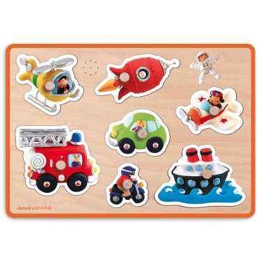 Vehicles Fleurus Sound Wooden Peg Puzzle