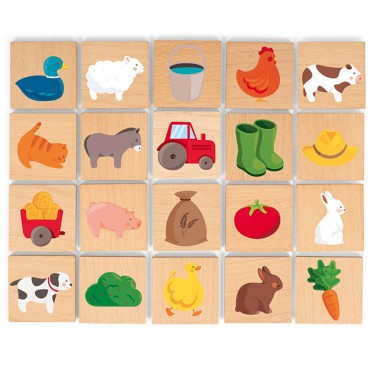 Barnyard Picture Memory Game Wooden Set