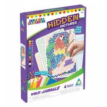 Sticky Mosaics Hidden Pictures Wild Animals Mosaic by Numbers Kit