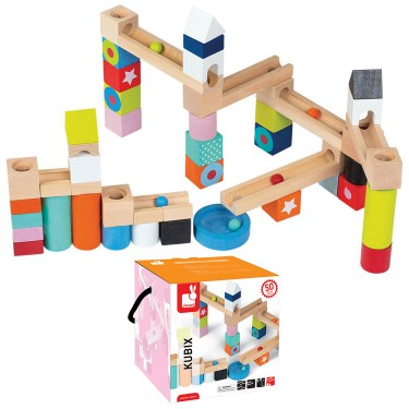 Kubix 50 pcs Wooden Marble Run Building Set