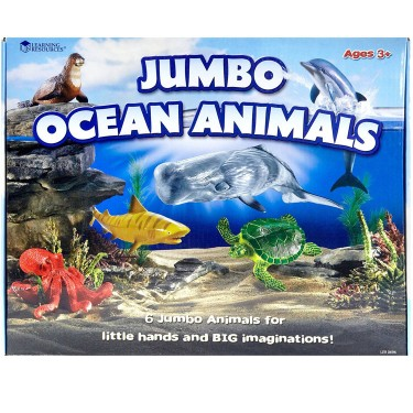 Jumbo Ocean Animals 6 pc Sea Animal Figurines Set