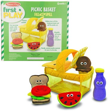 Picnic Basket Fill and Spill Soft Toy Food Play Set