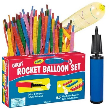 Giant Rocket Balloons 85 pc Set with Pump