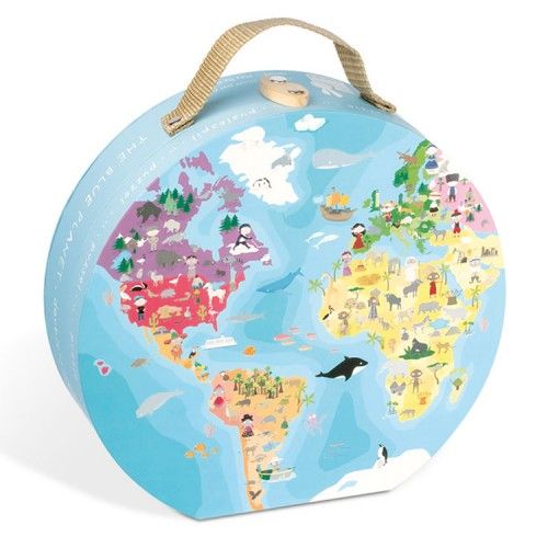 Our Planet World Map Round Double Sided 208 pc Puzzle