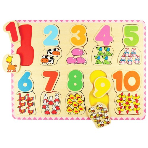 Number and Color Matching 20 pc Wooden Puzzle
